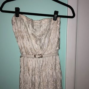 Lacy, strapless, creamy/white high-low dress
